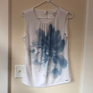 Calvin Klein white with blue flower sleeveless